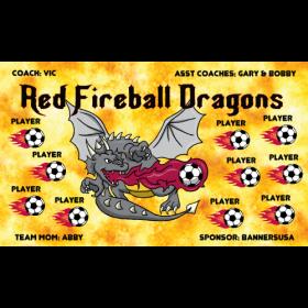 Dragons Red Fireball Vinyl Soccer Banner - Live Designer