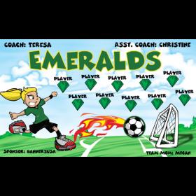 Emeralds Fabric Soccer Banner - E-Z Order