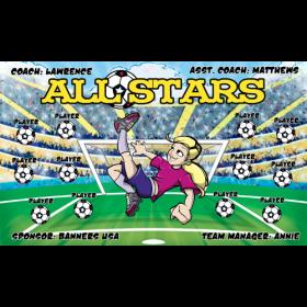 All Stars Fabric Soccer Banner E-Z Order