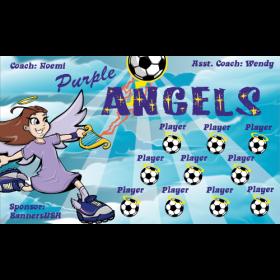 Angels Purple Vinyl Soccer Banner E-Z Order