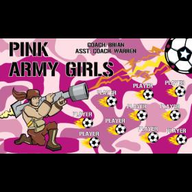 Army Girls Pink Vinyl Soccer Banner E-Z Order
