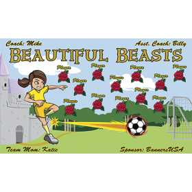 Beautiful Beasts Vinyl Soccer Banner - E-Z Order