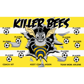 Bees Killer Fabric Soccer Banner E-Z Order