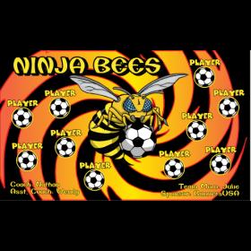 Bees Ninja Fabric Soccer Banner E-Z Order