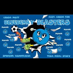 Blasters Blueberry Fabric Soccer Banner E-Z Order