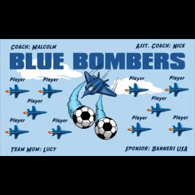 Bombers Blue Vinyl Soccer Banner E-Z Order