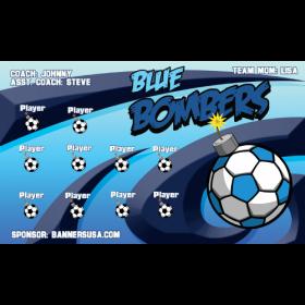 Bombers Blue Fabric Soccer Banner E-Z Order