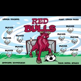 Bulls Red Fabric Soccer Banner E-Z Order