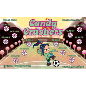 Candy Crushers Fabric Soccer Banner E-Z Order