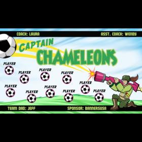 Captain Chameleons Fabric Soccer Banner E-Z Order