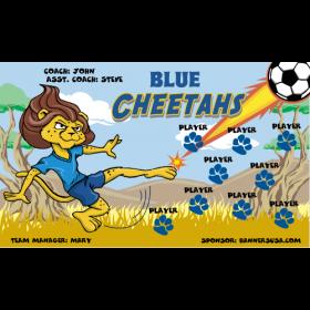 Cheetahs Blue Vinyl Soccer Banner E-Z Order