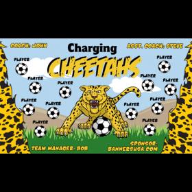 Cheetahs Charging Vinyl Soccer Banner E-Z Order