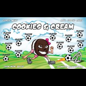 Cookies Cream Vinyl Soccer Banner E-Z Order