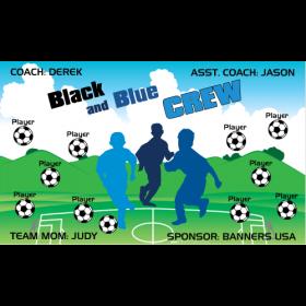Crew Black Blue Fabric Soccer Banner - E-Z Order