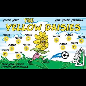 Daisies Yellow Vinyl Soccer Banner - E-Z Order