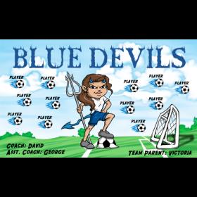 Devils Blue Fabric Soccer Banner - E-Z Order