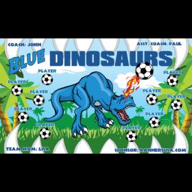 Dinosaurs Blue Fabric Soccer Banner - E-Z Order