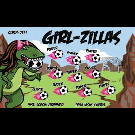 Girl-Zillas Vinyl Soccer Banner - E-Z Order