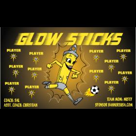 Glow Sticks Vinyl Soccer Banner - E-Z Order