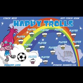 Happy Trolls Vinyl Soccer Banner - E-Z Order