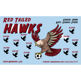 Hawks Red Tailed Vinyl Soccer Banner - E-Z Order