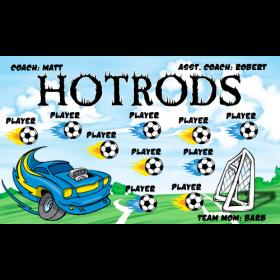Hotrods Fabric Soccer Banner - E-Z Order