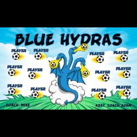 Hydras Blue Fabric Soccer Banner - E-Z Order