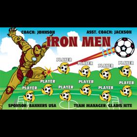 Iron Men Vinyl Soccer Banner - E-Z Order