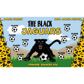 Jaguars Black Fabric Soccer Banner - E-Z Order