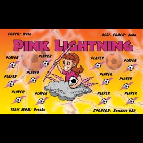 Lightning Pink Fabric Soccer Banner E-Z Order