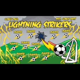 Lightning Strikers Fabric Soccer Banner - E-Z Order