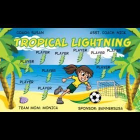 Lightning Tropical Fabric Soccer Banner - E-Z Order