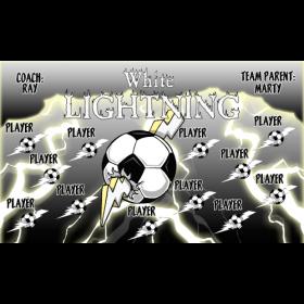 Lightning White Vinyl Soccer Banner - E-Z Order