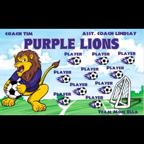 Lions Purple Vinyl Soccer Banner - E-Z Order