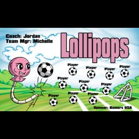 Lollipops Fabric Soccer Banner - E-Z Order