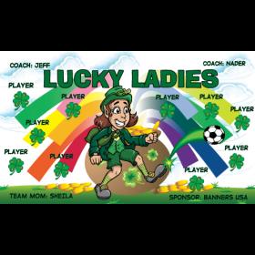 Lucky Ladies Vinyl Soccer Banner - E-Z Order