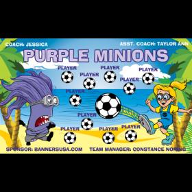 Minions Purple Vinyl Soccer Banner - E-Z Order