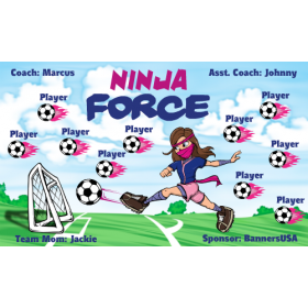 Ninja Force Fabric Soccer Banner - E-Z Order