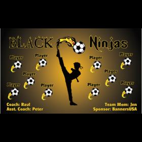 Ninjas Black Fabric Soccer Banner - E-Z Order