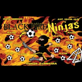 Ninjas Black Fire Fabric Soccer Banner - E-Z Order