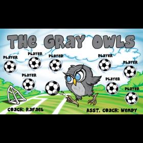 Owls Gray Fabric Soccer Banner E-Z Order