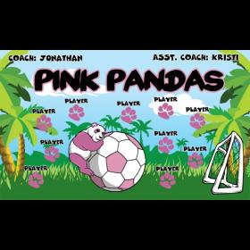 Pandas Pink Vinyl Soccer Banner - E-Z Order