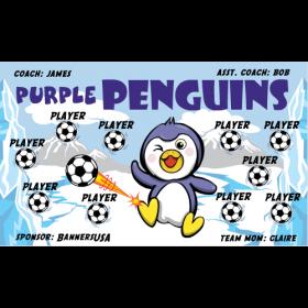 Penguins Purple Vinyl Soccer Banner - E-Z Order