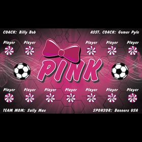Pink Vinyl Soccer Banner - E-Z Order