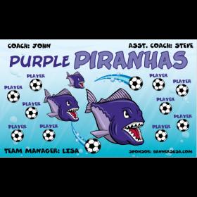 Piranhas Purple Fabric Soccer Banner - E-Z Order