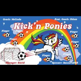 Ponies Kick N Vinyl Soccer Banner E-Z Order