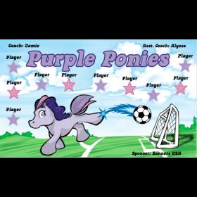 Ponies Purple Vinyl Soccer Banner - E-Z Order