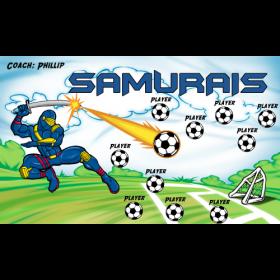 Samurais Vinyl Soccer Banner - E-Z Order