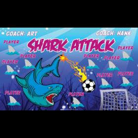 Shark Attack Fabric Soccer Banner - E-Z Order