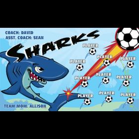 Sharks Fabric Soccer Banner - E-Z Order